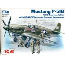 Mustang P-51B with Pilots & Ground Personnel